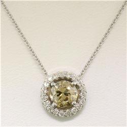 14k White Gold GIA 1.41 ctw Fancy Brownish Yellow Round Diamond Pendant w/ Halo