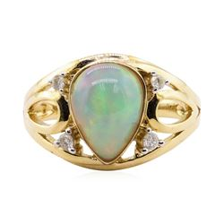 2.14 ctw Opal and Diamond Ring - 14KT Yellow Gold