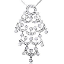 18k White Gold 0.82CTW Diamond Pendant, (I1-I2/H-I)
