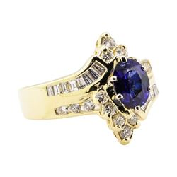 2.15 ctw Blue Sapphire And Diamond Ring - 14KT Yellow Gold