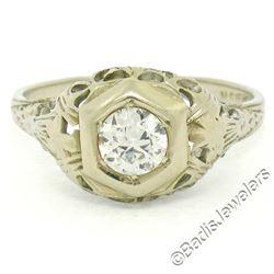 Antique Art Deco 18kt White Gold 0.42 ctw European Diamond Filigree Ring