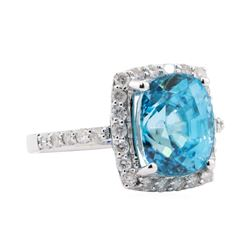 8.07 ctw Blue Zircon and Diamond Ring - 14KT White Gold