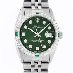 Rolex Mens Stainless Steel Green Diamond & Emerald 36MM Datejust Wristwatch With
