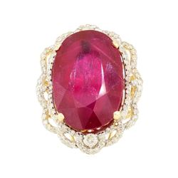 28.57 ctw Ruby and Diamond Ring - 14KT Yellow Gold