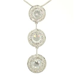 Vintage 18K White Gold 2.59 ctw 3 Rose Cut Diamond Drop Pendant w/ Triple Halo