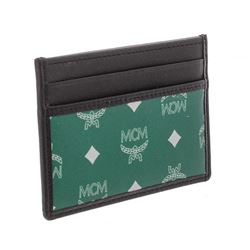 MCM Eden Green Reflective Nylon Leather Mini Card Case