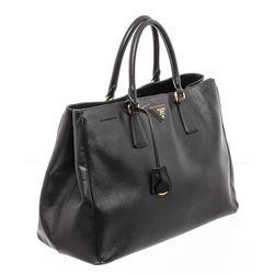 Prada Black Leather Saffiano Lux Tote Bag