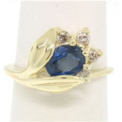 14K Solid Yellow Gold 1.14 ctw Oval Sapphire Blooming Flower Ring Diamond Accent