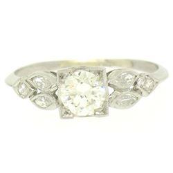 Antique Art Deco Platinum 0.90 ctw Old European & Marquise Diamond Solitaire Rin
