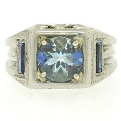 Antique Art Deco 18kt White Gold 1.25 ctw Aquamarine and Diamond Ring