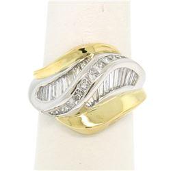 18k Yellow Gold & Platinum Wavy 2.50 ctw F VS1 Baguette & Princess Diamond Ring