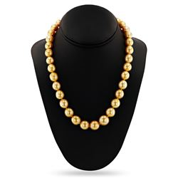 10 - 14mm Golden South Sea Pearl 14K Yellow Gold Necklace