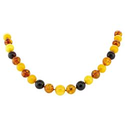 Twenty Inch Multi-Color Rounded Baltic Amber Bead Necklace