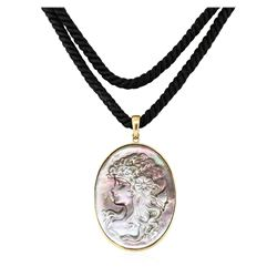 Black Mother of Pearl Cameo Pendant - 14KT Yellow Gold