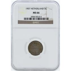 1907 Netherland 5 Cents Coin NGC MS66