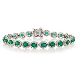 7.64 ctw Emerald and 2.63 ctw Diamond 14K White Gold Bracelet