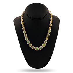 24.97 ctw Opal and 6.00 ctw Diamond 14K Yellow Gold Necklace