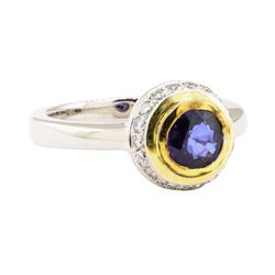 1.30 ctw Blue Sapphire and Diamond Ring - 18KT White and Yellow Gold