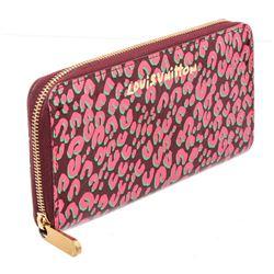 Louis Vuitton Pink Leopard Print Monogram Vernis Leather Zippy Wallet