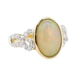 2.44 ctw Opal and Diamond Ring - 14KT Yellow Gold