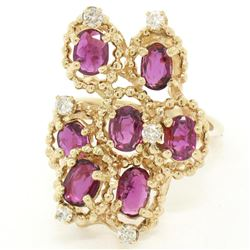 14kt Yellow Gold 2.14 ctw Ruby and Diamond Cluster Cocktail Ring