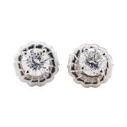 0.64 ctw Diamond Earrings - 14KT White Gold