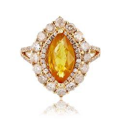 2.52 ctw Yellow Sapphire and 1.47 ctw Diamond 14K White Gold Ring