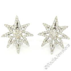 18kt White Gold 3.35 ctw Diamond Star Burst Cluster Earrings