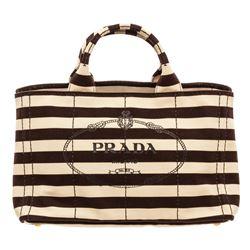 Prada Black White Canvas Medium Canapa Shopping Tote Bag