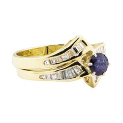 1.03 ctw Blue Sapphire And Diamond Ring And Band - 14KT Yellow Gold