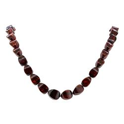 Cherry Colored Baltic Amber Necklace - 14KT Yellow Gold Clasp