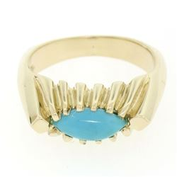 14k Gold Ribbed Marquise Cabochon Robin Egg Turquoise Solitaire Ring