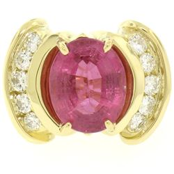 18K Yellow Gold 6.54 ctw Oval Pink Tourmaline & Round Diamond Cocktail Ring
