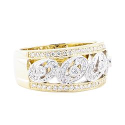 0.52 ctw Diamond Wide Band - 14KT Yellow And White Gold