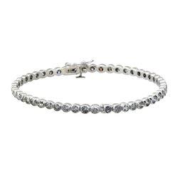4.97 ctw Diamond Bangle Bracelet - 18KT White Gold