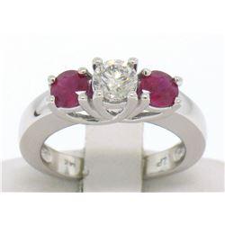 14k White Gold 3 Stone Engagement Ring