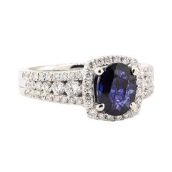2.06 ctw Blue Sapphire And Diamond Ring - 18KT White Gold