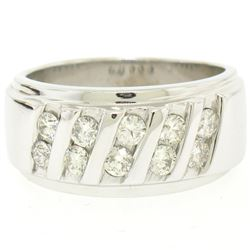Men's 14k White Gold 1.00 ctw Round Diamond Diagonal Channel WIDE BOLD Band Ring