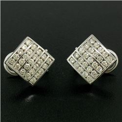 14K White Gold 1.50 ctw 50 Round Diamond Square Multi Channel Omega Back Earring