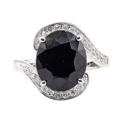 8.58 ctw Saphire and Diamond Ring - 14KT White Gold