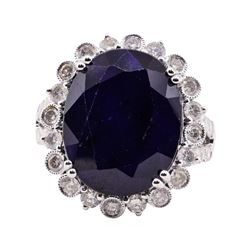 15.74 ctw Sapphire and Diamond Ring - 14KT White Gold