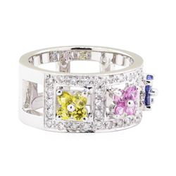 1.61 ctw Multi-Colored Sapphire and Diamond Ring - 14KT White Gold