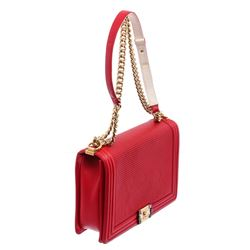 Chanel Red Waffle Quilted Calfskin Leather Large Cube Boy Bag