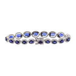 16.61 ctw Sapphire and Diamond Bracelelt - 14KT White Gold