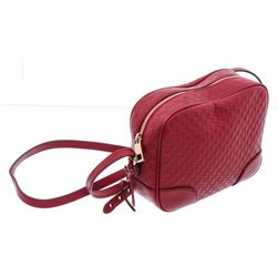 Gucci Red Microguccissima GG Leather Bree Crossbody Messenger Bag