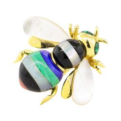 Multi-Colored Gemstone Bee Pin - 14KT Yellow Gold