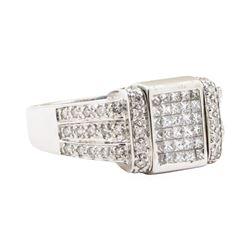 1.20 ctw White and Blue Diamond Ring - 14KT White Gold