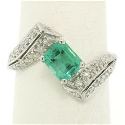 14k White Gold 1.20 ctw Colombian Emerald & Pave Diamond Bypass Cocktail Ring