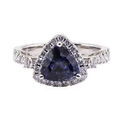 2.40 ctw Sapphire and Diamond Ring - 18KT White Gold