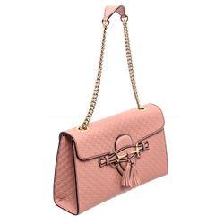 Gucci Pink GG Signature Leather Emily Shoulder Bag